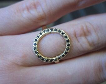 14K Gold Open Circle Ring with Black Diamonds 6J7955
