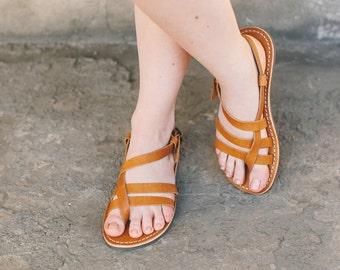 Leather Sandals, Greek Leather Sandals, Strappy Sandals, Greek Sandals, Summer Sandals, Gladiator Sandals, Women Sandal, Light Brown Sandals