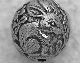 Green Girl Studios Pewter Woodland Scene Bead