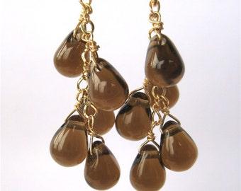Gray Clip On Earrings, Gold Clipons, Warm Grey Teardrops Cascade Ear Clips, Taupe Dangle, Handmade, Tanya