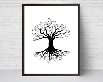 Tree with Roots Wall Art Print, Nursery art, House Decor, Printable Digital download, Black White Modern Printable art poster, Large print