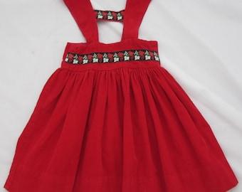 alpine red dress vintage homemade lederhosen for girls gathered romper dress liederhosen little girls vintage dress christmas dress