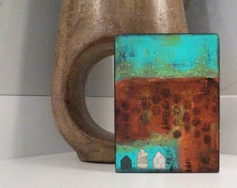 Original Metallic Painting - Turquoise and Copper Abstract Landscape Painting , Small Living Room Wall Art