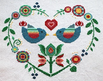 Cross stitch pattern, heart needlepoint, birds sampler, folk art
