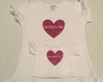 Personalized glitter T shirt for child amd her doll (fits 18inch)