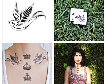 Swallow - temporary tattoo (Set of 2)