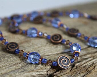 Light Sapphire Blue and Copper Necklace / Swarovski Crystal / Sparkly