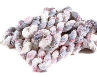 Mini Skeins, Hand Dyed Yarn, Sock Weight, Superwash Merino Wool Yarn, Knitting Yarn, Sock Yarn, Multi-colored, gray, pink - Winter Wedding