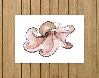 "Caribbean Octopus, Octopus, Watercolor Illustration, Giclée Print, Home Decor, Kids Room, Nursery Decor, A5, 8.5""x11"", A4, A3, 13""x19"""