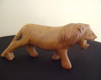 Vintage Hand Carved Wooden Lion Figurine