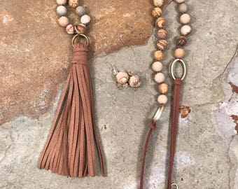 Leather tassel pendant on a picture jasper and leather necklace with matching earrings