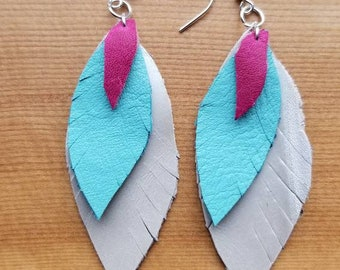 Tri-color leather feather earrings