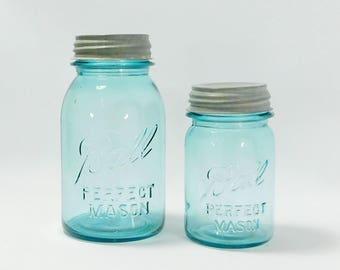 Vintage Blue Ball Mason Jars with Zinc Ball Lids, 1 Quart, 1 Pint, Farmhouse Style, Wedding Decor, Cottage, Canning, Storage, 1923-33, J7