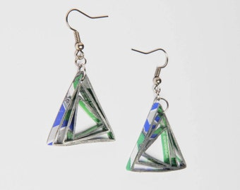 Metallic Sprite can earrings, FREE SHIPPING,  Upcycled  dangle earrings - red triangle earrings - geometric Eco Friendly earrings