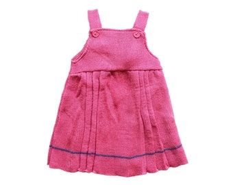 FRENCH VINTAGE 70's / baby girl dress / hot pink acrylic knit / NOS / size 3/6 months