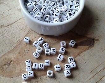 500 white alphabet square beads 6mm acrylic
