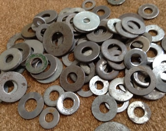 Rusty Washers, Metal Washers, Salvaged Hardware, Industrial, Steampunk, Assemblage, Mixed Media, Altered Art, Jewelry Supply