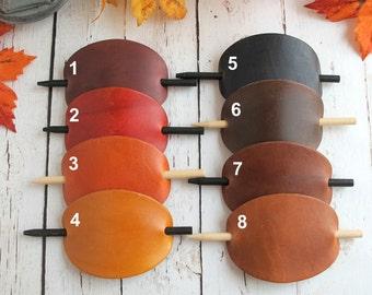 Leather Hair Accessories-Fall Hair Barrettes-Fall Hair Accessories- Hair Sticks-GIFT FOR HER-Leather Hair Barrettes-Fall Hair Stick Barrette