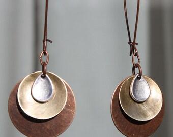 Copper Earrings, Dangle Drop Earrings, Boho Earrings Bohemian Earrings, Boho Jewelry, Mixed Metal Earrings, Gift for women, Gift For Her