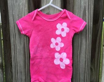 Pink Baby Bodysuit, Baby Girl Bodysuit, Flower Girl Bodysuit, Pink Flower Bodysuit, Pink Baby Girl Outfit, First Birthday Gift (12 months)