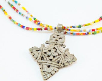 Colorful Coptic Cross Necklace African Trade Christmas Beads Triple Strand Ethnic Statement Tribal