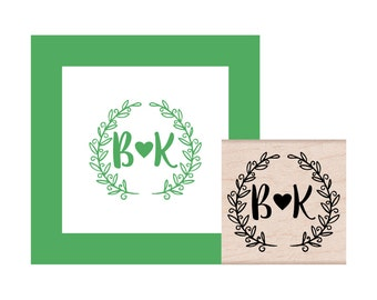 Leaf Brackets with Initials Personalized Rubber Stamp