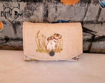 Hare linen purse, coin purse, wallet, rabbit