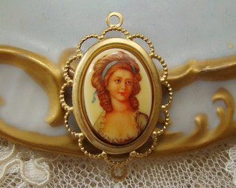 Vintage Oval 18x13mm Girl with Blue Ribbon Portrait Female Cameos Cabochons - 2