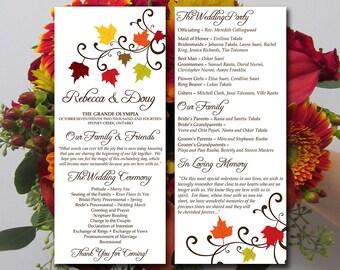 Fall Wedding Program Template Download - Tea Length Program - Autumn Leaves Rustic Ceremony Program - Double Sided Program Word Template