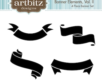 Banner Elements, Vol. II, No. 17004 Scrapbooking Clip Art Kit, 300 dpi .jpg and .png, Instant Download!