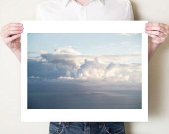 Cloud photography print, seascape, clouds, sky fine art photograph. Kefalonia Greece. Large oversized cloud print, soft blue ocean artwork