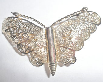 Pretty petite vintage goldtone filigree look butterfly winged insect figural brooch
