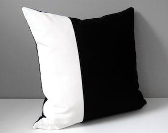 Black White Outdoor Pillow Cover, Modern Color Block Pillow Cover, Decorative Pillow Case, Masculine Sunbrella Cushion Cover, Mazizmuse