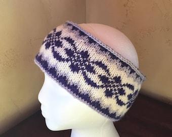 Lined Reversible Hand Knit Fair Isle Earwarmer Ski Headband