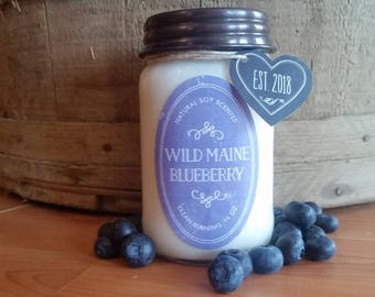 Wild Maine Blueberry Candle// All Natural Soy Candle// Farmhouse decor// Farmhouse Soy Candle// Blueberry Candle// Mason Jar Decor// Rustic