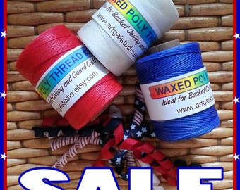 Waxed Poly Thread - Red White & Blue SPECIAL SALE!  3 Spools, Ideal for Pine Needle Basket Weaving, Gourd Art, Leather Work, Sewing Crafts