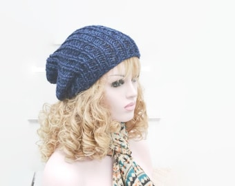 Chunky Hat, Hand Knitted, Slouchy beanie, Tam, Slouch Hat, Denim, Navy