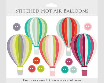 Hot air balloons clipart - stitched hot air balloon, clip art, stitching, buttons, multicolored, for personal and commercial use