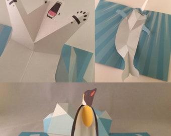 3 x Pop Up Greetings Birthday Cards 3D - Polar Bear, Penguin & Narwhal
