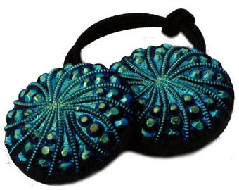 Iridescent Glass Ponytail Elastic Hair Tie, Peacock Colors of Bright Blues and Greens with Black, Czech Glass Buttons, Party Hair Accessory