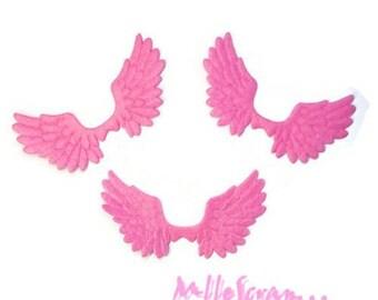 Set of 6 large pink embellishment wings scrapbooking card making (ref.310). *.