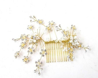 Gold Silver White Cherry Blossom Flower Pearl Vine Hair Comb Bridal Wedding 5268