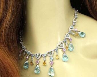 10200 - Estate 1.75ct Diamond Gemstone Hearts Drop 18k White Gold Necklace