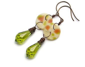 Button Earrings Antique Brass Wirewrapped Vintage Swarovski Olivine Crystals Vintage Rose Brown Green Pearly Buttons OOAK Gypsy Boho Chic
