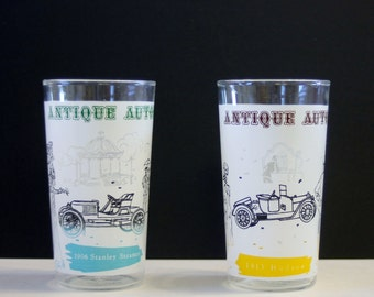SALE! Drinking Glasses Set of 2 Antique Auto  12 oz. Glassware by Anchor Hocking