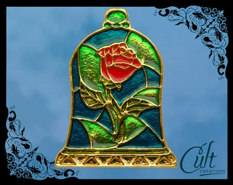 Beauty and the Beast metal and enamel stained glass effect Rose in Bell Jar Pin Badge Free UK post.