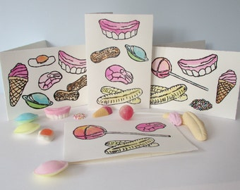 Set of 4 Handmade Cards. Retro Sweets. Hand Painted Lino Print. Blank Greetings Card. Banana. Shrimp. Flying Saucer. Lollipop. Peanut.