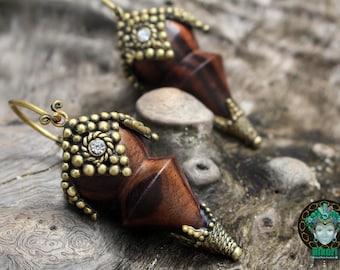 WOODEN TRIBAL EARINGS, brass, wood, handcarved, brass detailes, ornate.