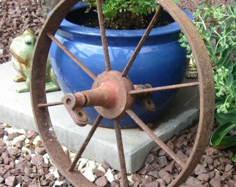 "Vintage Rustic Iron Wheel, Farm Wheel, Wagon, Cart, Implement, Antique Industrial Wheel, 15 1/2"" diameter"