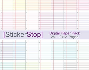 Notebook Paper with Colored Lines Digital Paper Set in 28 Colors - Instant download PNG files - 12 x 12 paper